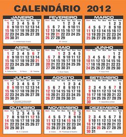 Feriados Calendário 2012