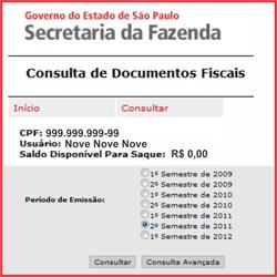 Consultar saldo do Nota Fiscal Paulista
