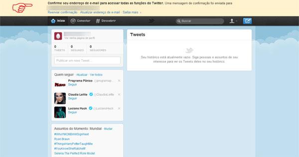 Página principal Twitter
