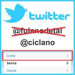 Trocar nome de usuário do Twitter