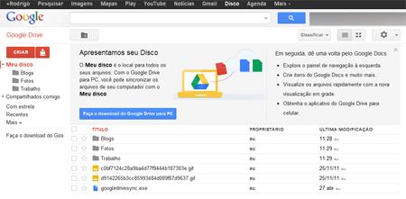 Google Drive Interface conta