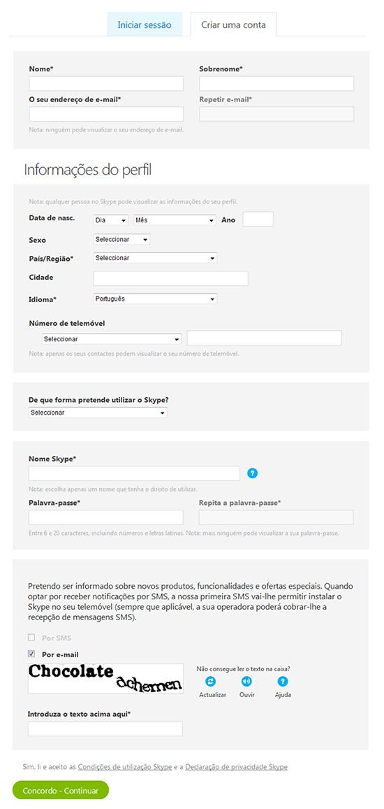 Formulário Cadastro Criar Skype